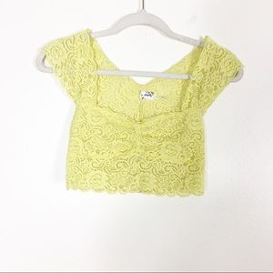 Intimately Free People Yellow Lace Cropped Top